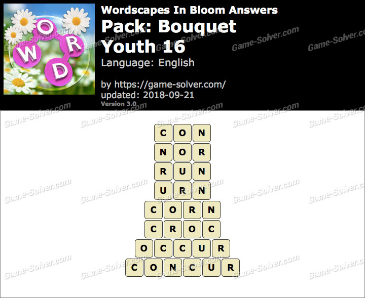 Wordscapes In Bloom Bouquet-Youth 16 Answers