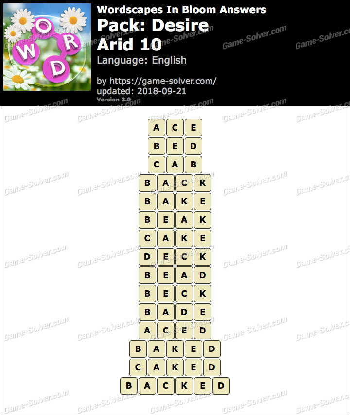 Wordscapes In Bloom Desire-Arid 10 Answers