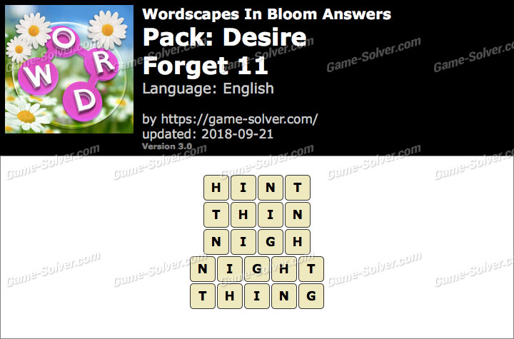 Wordscapes In Bloom Desire-Forget 11 Answers