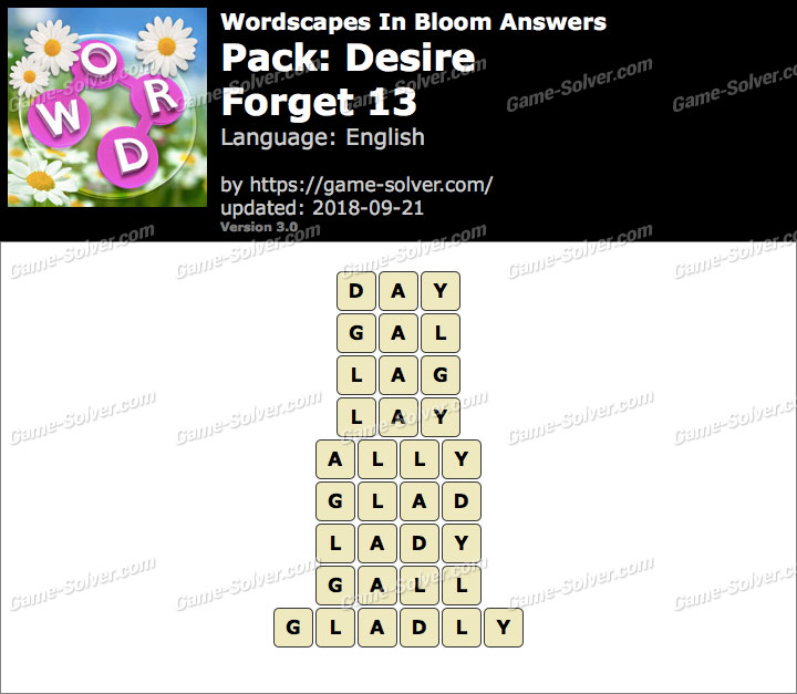 Wordscapes In Bloom Desire-Forget 13 Answers