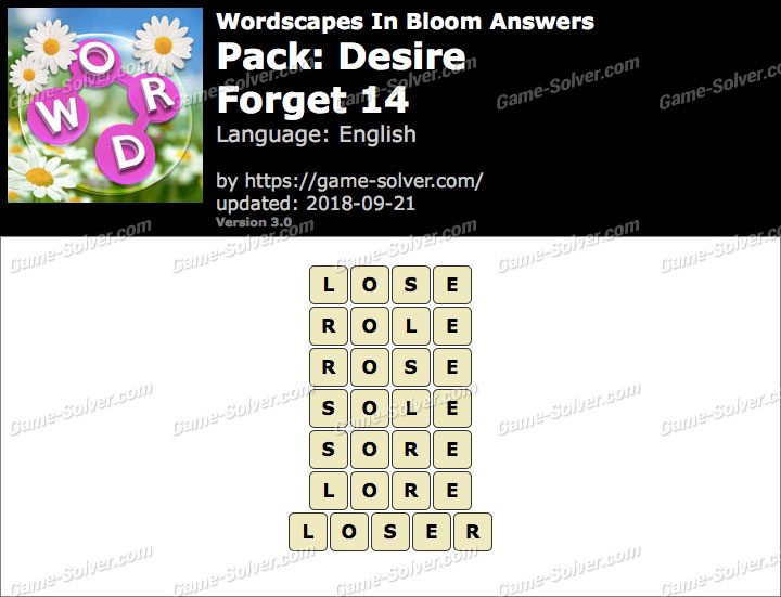 Wordscapes In Bloom Desire-Forget 14 Answers