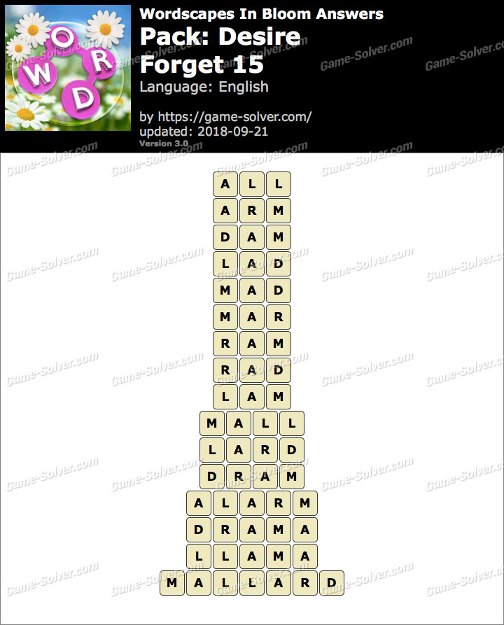 Wordscapes In Bloom Desire-Forget 15 Answers