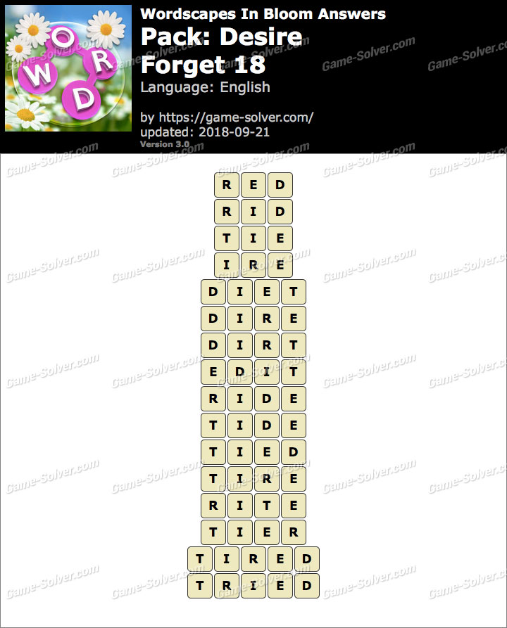 Wordscapes In Bloom Desire-Forget 18 Answers