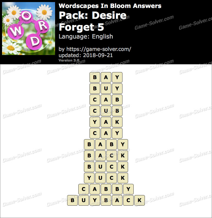 Wordscapes In Bloom Desire-Forget 5 Answers