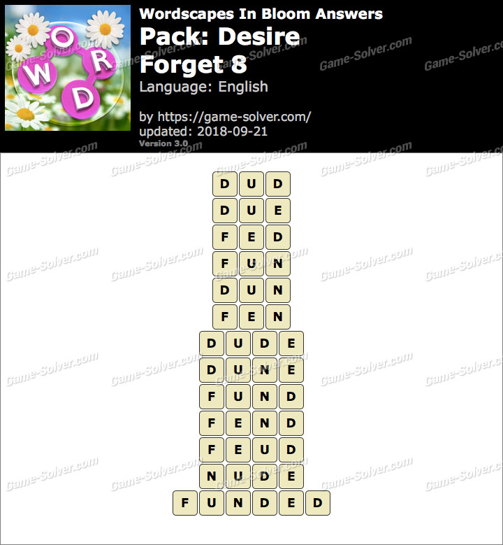 Wordscapes In Bloom Desire-Forget 8 Answers