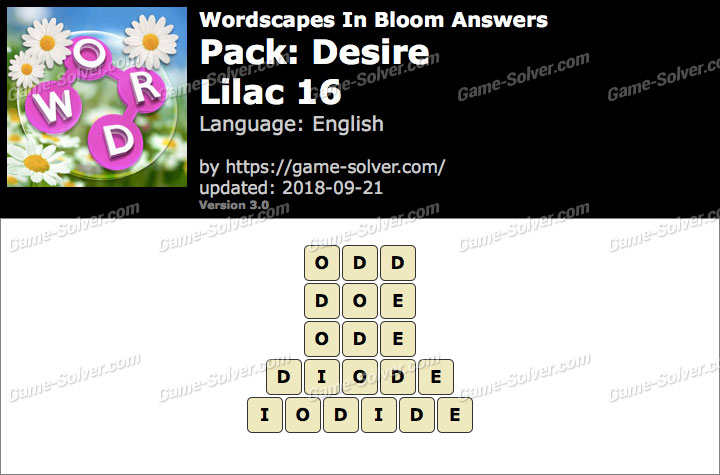 Wordscapes In Bloom Desire-Lilac 16 Answers