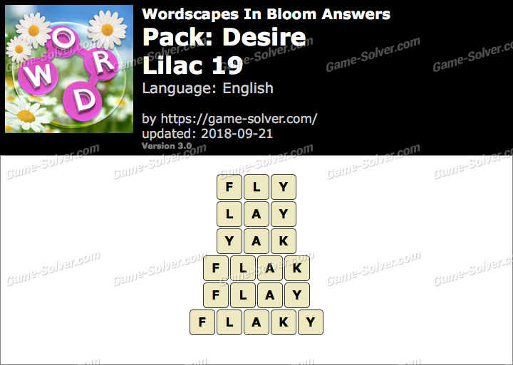 Wordscapes In Bloom Desire-Lilac 19 Answers