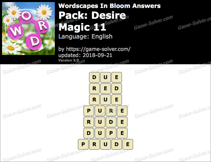 Wordscapes In Bloom Desire-Magic 11 Answers