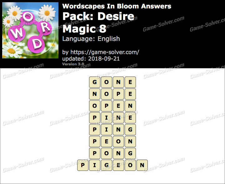 Wordscapes In Bloom Desire-Magic 8 Answers