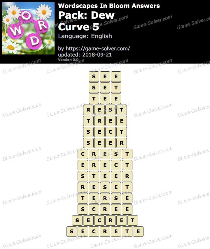 Wordscapes In Bloom Dew-Curve 5 Answers