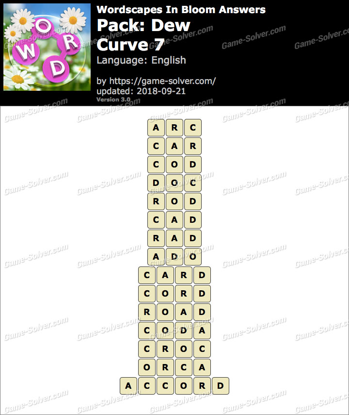 Wordscapes In Bloom Dew-Curve 7 Answers