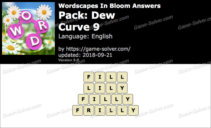 Wordscapes In Bloom Dew-Curve 9 Answers
