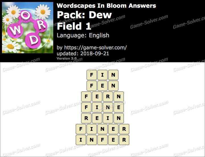 Wordscapes In Bloom Dew-Field 1 Answers
