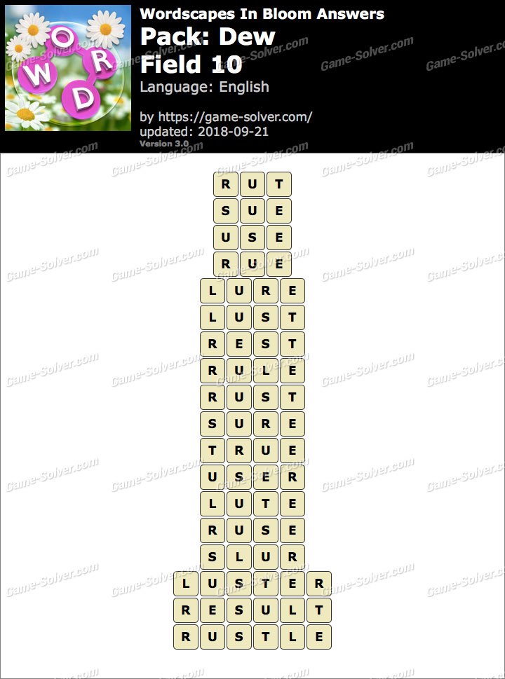 Wordscapes In Bloom Dew-Field 10 Answers