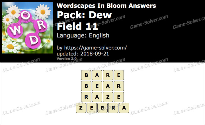 Wordscapes In Bloom Dew-Field 11 Answers