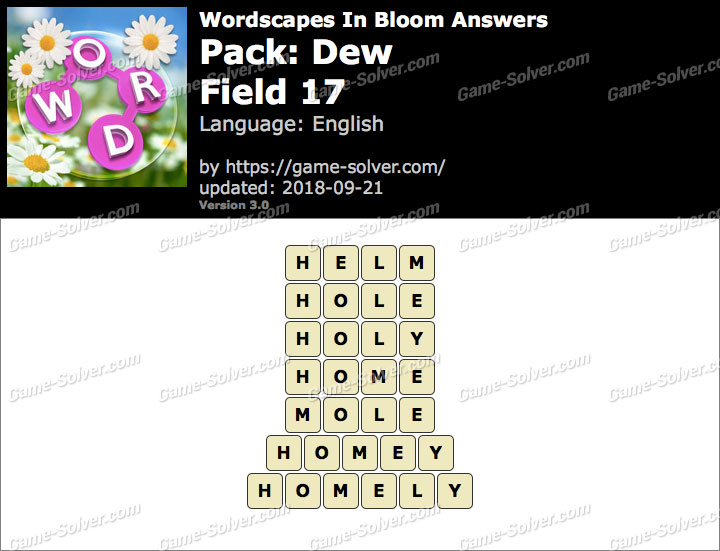 Wordscapes In Bloom Dew-Field 17 Answers