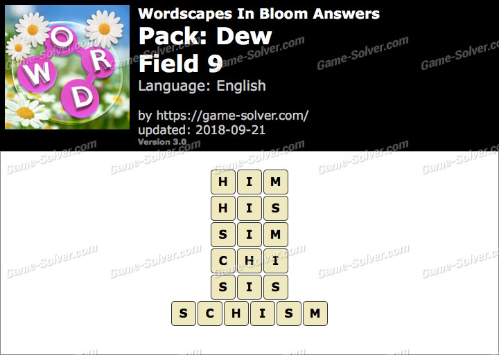 Wordscapes In Bloom Dew-Field 9 Answers