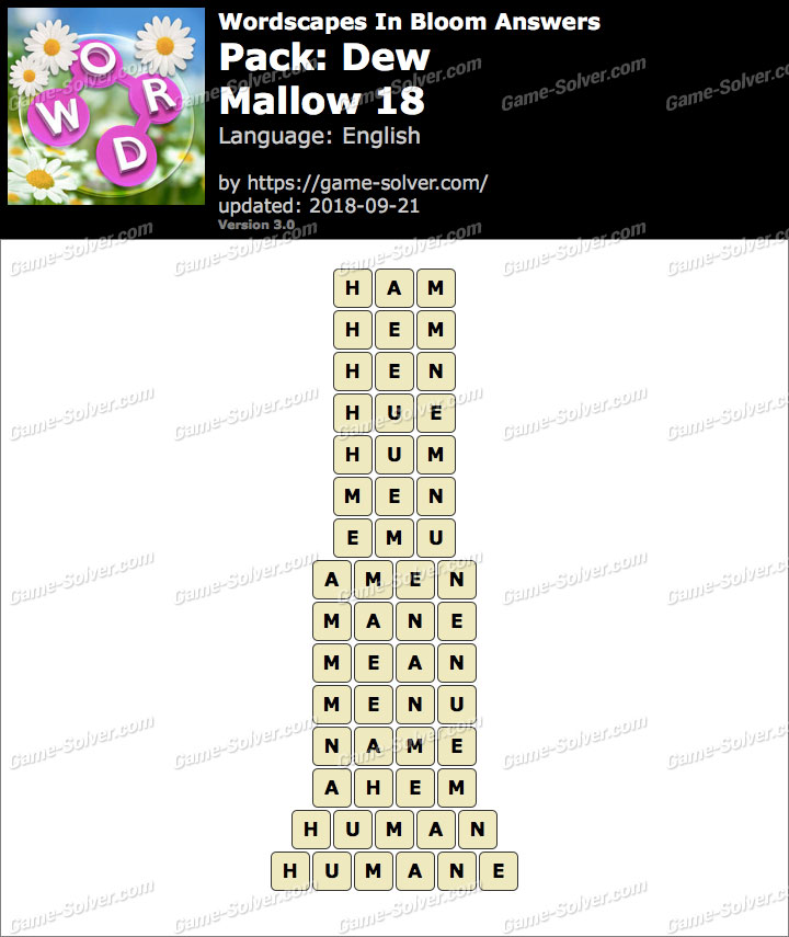 Wordscapes In Bloom Dew-Mallow 18 Answers
