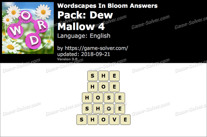 Wordscapes In Bloom Dew-Mallow 4 Answers