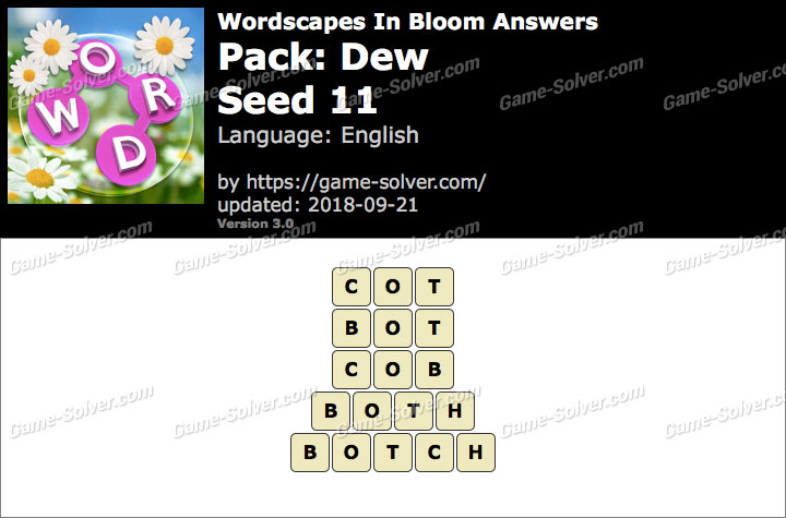 Wordscapes In Bloom Dew-Seed 11 Answers