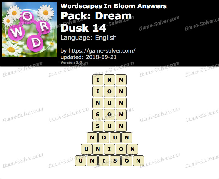 Wordscapes In Bloom Dream-Dusk 14 Answers