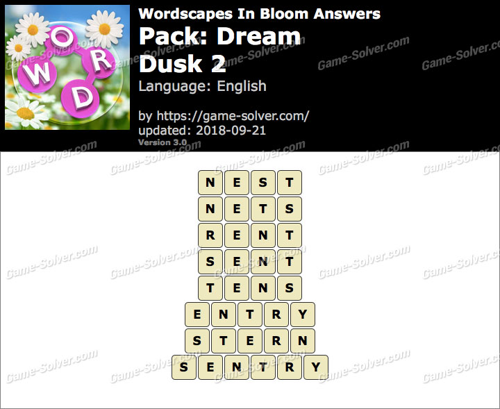 Wordscapes In Bloom Dream-Dusk 2 Answers