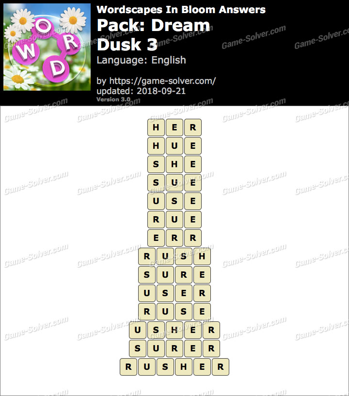 Wordscapes In Bloom Dream-Dusk 3 Answers