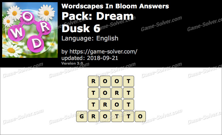 Wordscapes In Bloom Dream-Dusk 6 Answers