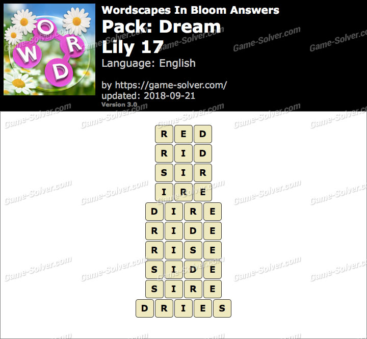 Wordscapes In Bloom Dream-Lily 17 Answers