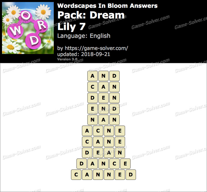 Wordscapes In Bloom Dream-Lily 7 Answers