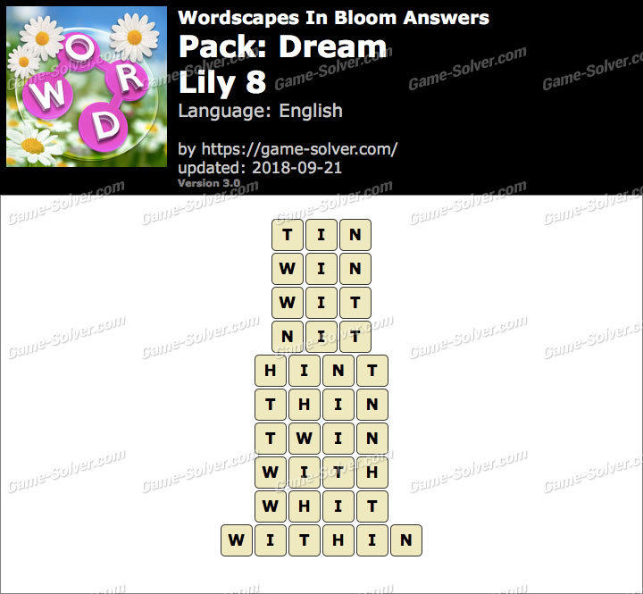 Wordscapes In Bloom Dream-Lily 8 Answers