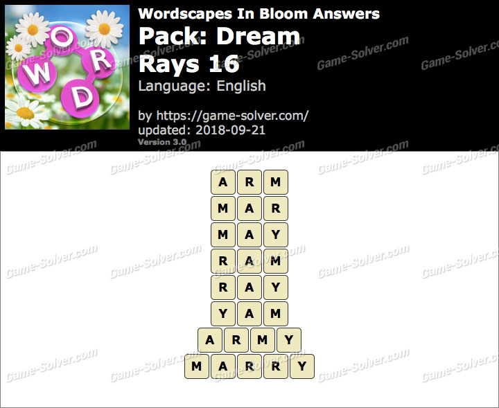 Wordscapes In Bloom Dream-Rays 16 Answers