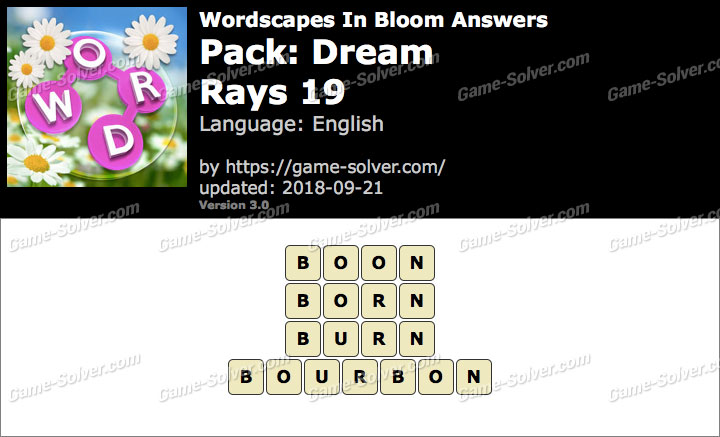 Wordscapes In Bloom Dream-Rays 19 Answers