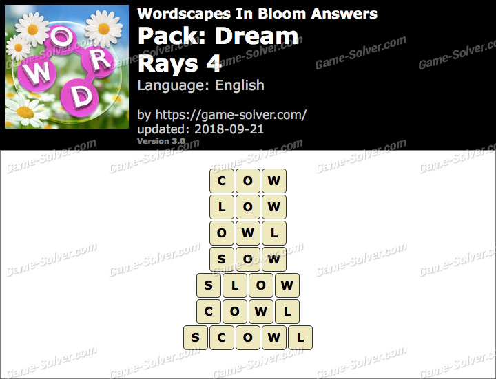 Wordscapes In Bloom Dream-Rays 4 Answers