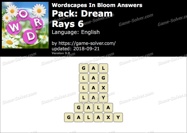 Wordscapes In Bloom Dream-Rays 6 Answers