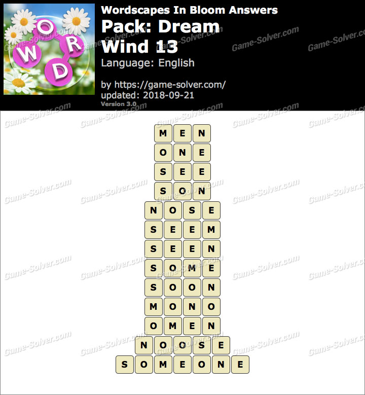 Wordscapes In Bloom Dream-Wind 13 Answers