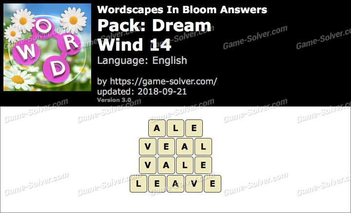 Wordscapes In Bloom Dream-Wind 14 Answers
