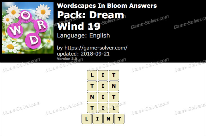 Wordscapes In Bloom Dream-Wind 19 Answers
