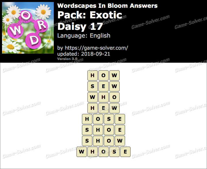 Wordscapes In Bloom Exotic-Daisy 17 Answers