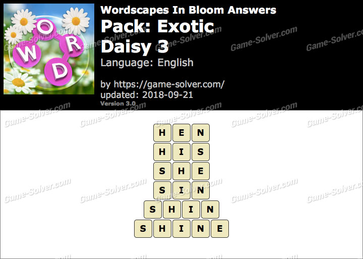 Wordscapes In Bloom Exotic-Daisy 3 Answers