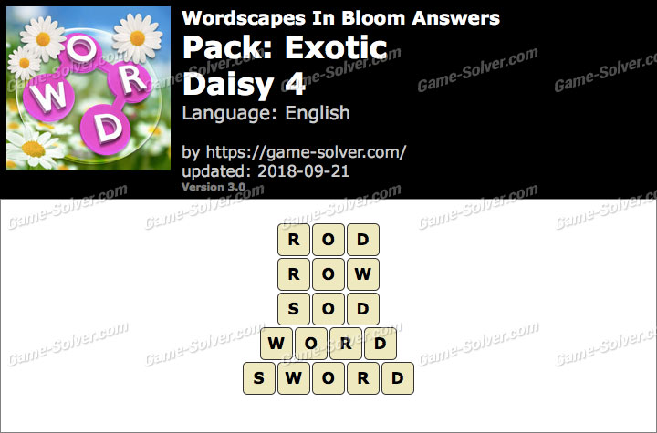 Wordscapes In Bloom Exotic-Daisy 4 Answers