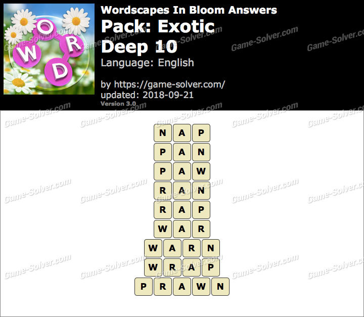 Wordscapes In Bloom Exotic-Deep 10 Answers