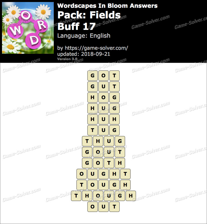 Wordscapes In Bloom Fields-Buff 17 Answers