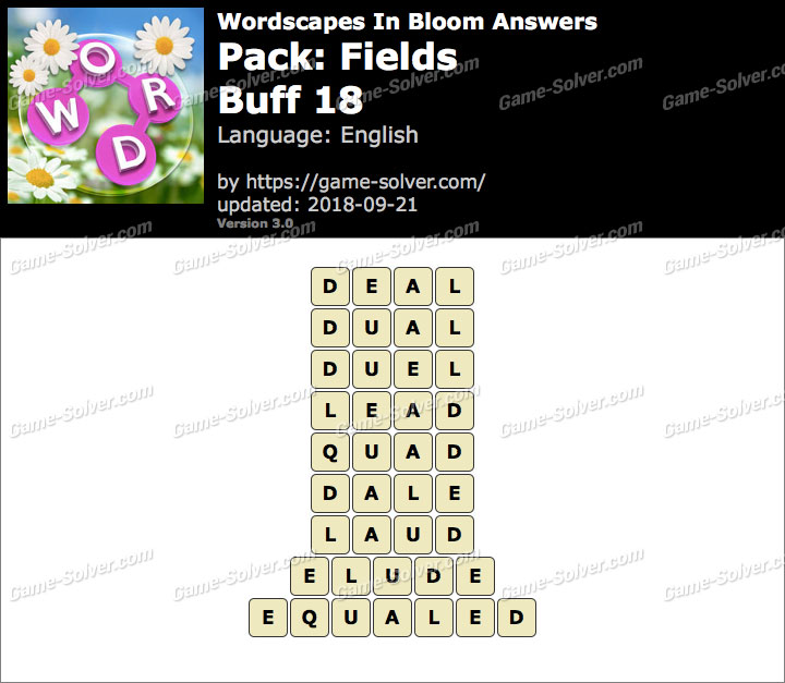 Wordscapes In Bloom Fields-Buff 18 Answers