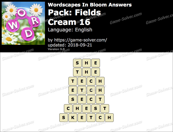 Wordscapes In Bloom Fields-Cream 16 Answers
