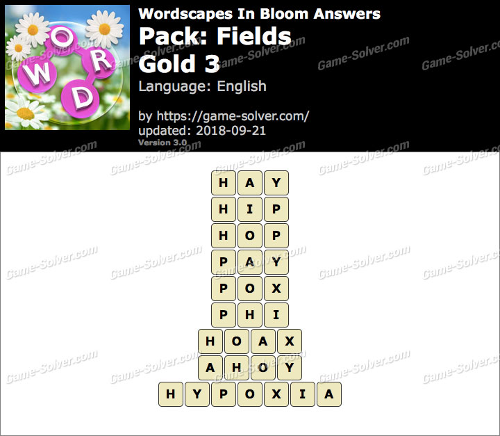 Wordscapes In Bloom Fields-Gold 3 Answers