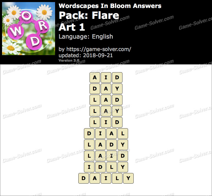 Wordscapes In Bloom Flare-Art 1 Answers