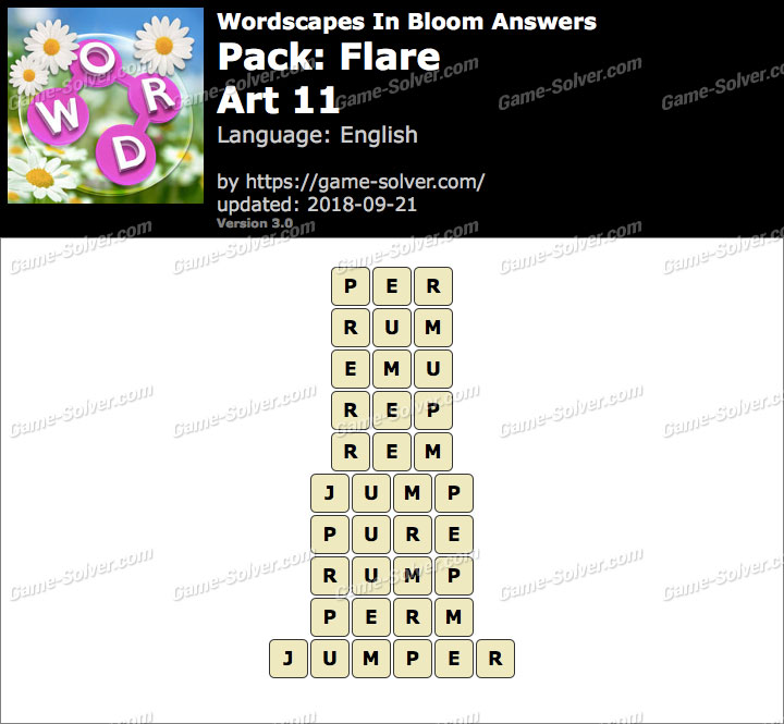 Wordscapes In Bloom Flare-Art 11 Answers