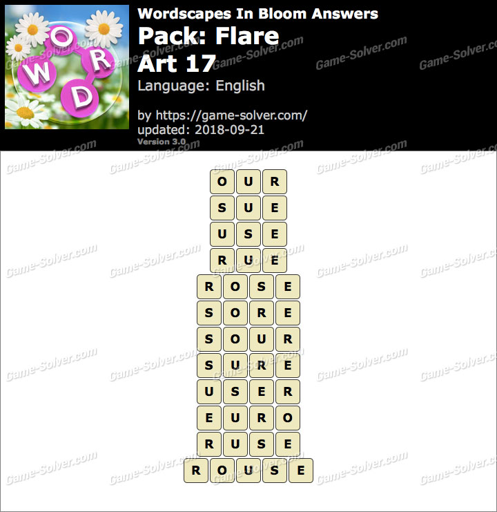 Wordscapes In Bloom Flare-Art 17 Answers