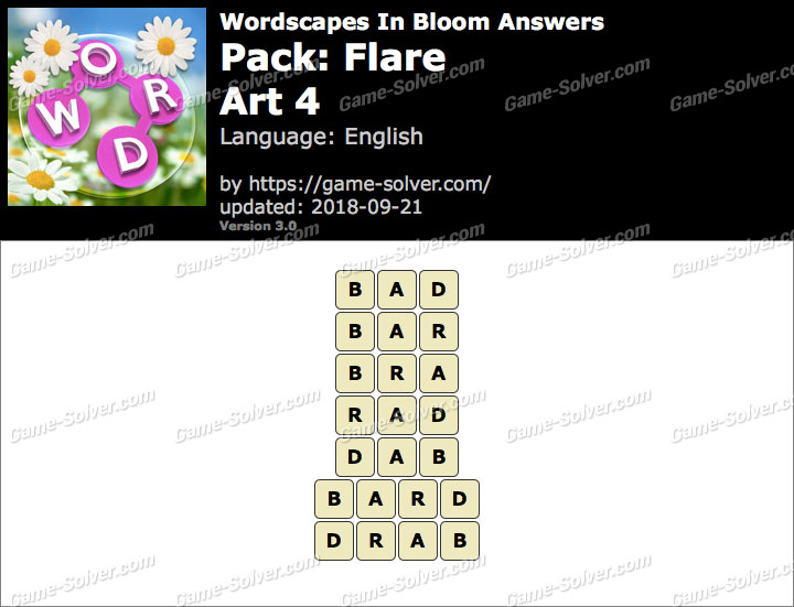 Wordscapes In Bloom Flare-Art 4 Answers